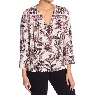 Lucky Brand Purple Beige Womens Size Large L Floral Tie Neck Blouse