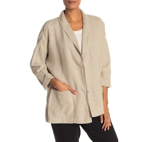 Eileen Fisher Womens Beige Size Large L Shawl Collar Open Front Jacket