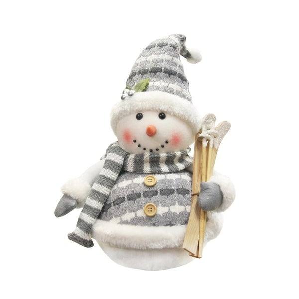 "12"" Alpine Chic Gray and White Sparkling Snowman with Skiis Christmas Decoration"