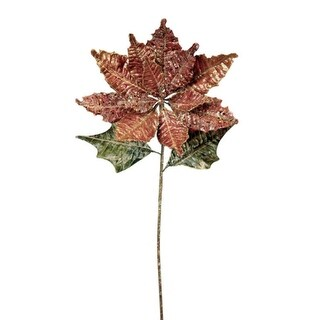 """Pack of 6 Victorian Inspirations Glittered Red Poinsettia Christmas Picks 28"""""""