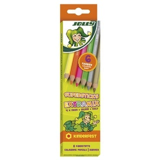 Jolly Supersticks Colored Pencils, Neon Colors, Set of 6
