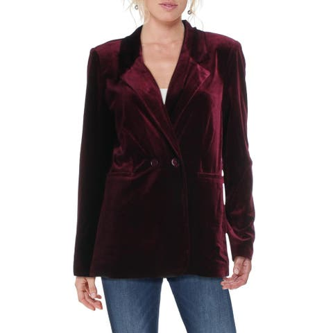 Aqua Womens Blazer Velvet Double-Breasted - Burgundy