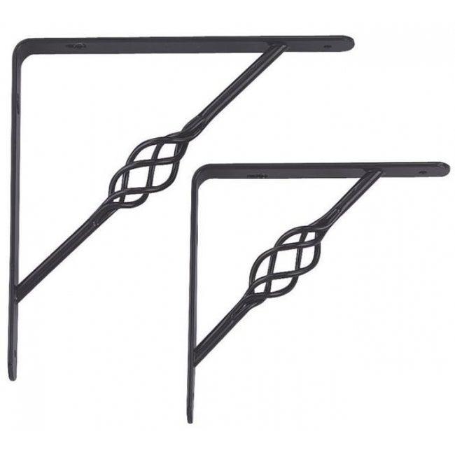Prosource SB-017PS Decorative Shelf Brackets, Black, 8 X 8