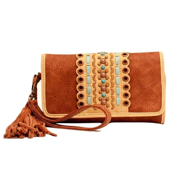 Blazin Roxx Western Wallet Womens Laney Clutch Nailhead Brown - 7 1/2 x 4 1/2