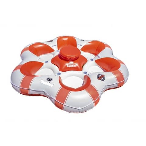 """99"""" Orange and White Super Chill 6 Person Inflatable Island Float"""