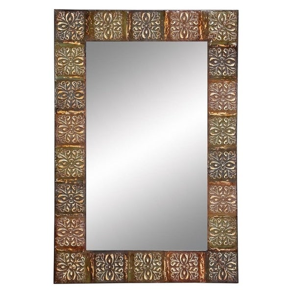"""Aspire Home Accents 74361 36"""" Embossed Metal Frame Wall Mirror - N/A"""