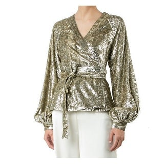 Co NEW Gold Womens Size XS Textured Metallic Waist-Tie Wrap Blouse