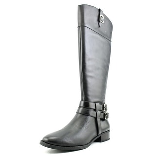 INC International Concepts Fahnee Wide Calf Women Leather Black Knee High Boot
