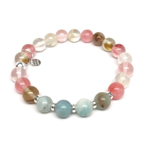 "Pink Cherry Quartz Andy 7"" Bracelet"
