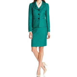 Le Suit NEW Green Emerald Women's Size 18 3-Button Skirt Suit Set