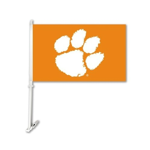 Bsi Products Inc Clemson Tigers Car Flag With Wall Brackett Car Flag
