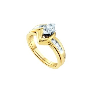 10k Yellow Gold Natural Marquise Diamond Solitaire Womens Classic Wedding Bridal Set 1/4 Cttw - White