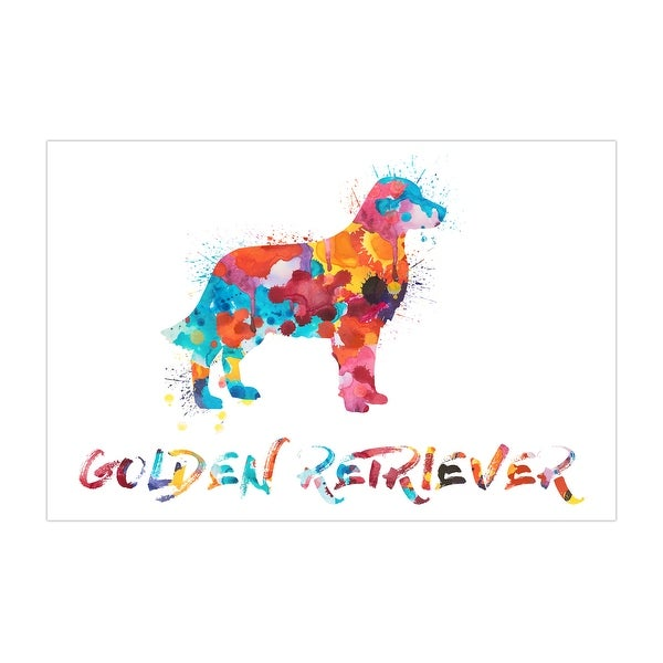 Golden Retriever Dog and Cat Watercolor Splatter Art Matte Poster 36x24