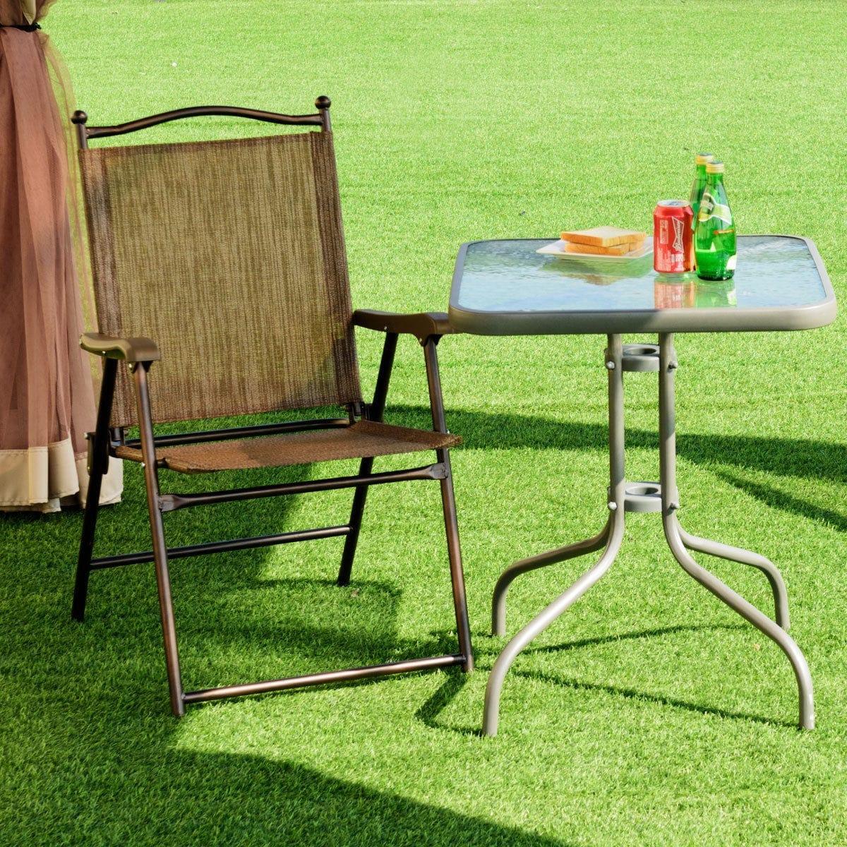 Folding Patio Chair Set Outdoor Furniture Pool Deck Lawn Garden Yard Porch Brown