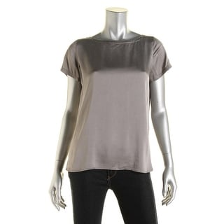Eileen Fisher Womens Petites Silk Short Sleeves Pullover Top - ps