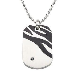 Men's Zebra Enamel Dog Tag with Black Diamond in Stainless Steel