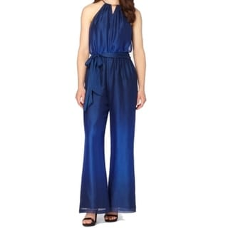 Tahari by ASL NEW Blue Women's Size 14 Belted Wide Leg Jumpsuit