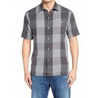 Tommy Bahama NEW Gray Mens 2XL Short-Sleeve Button Down Plaid Shirt