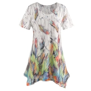 Women's Tunic Top - Neon Feathers Short Sleeve Long Blouse