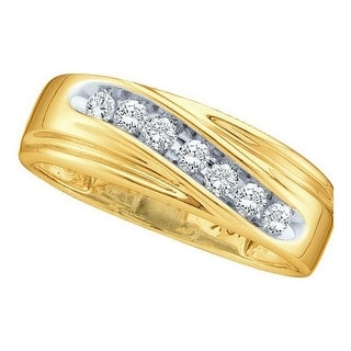 10k Yellow Gold Round Channel-set Natural Diamond Mens Curved 2-tone Wedding Band 1/4 Cttw - White