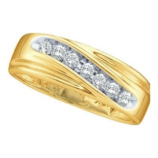 14k Yellow Gold Round Channel-set Natural Diamond 8-13 Mens Curved 2-tone Wedding Band 1/4 Cttw - White