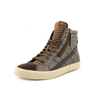 Diesel D-String Men Round Toe Leather Brown Sneakers