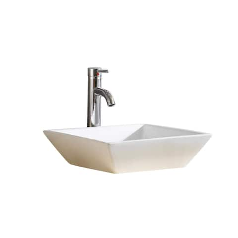 Fine Fixtures Square Vitreous-China White Bathroom Vessel Sink