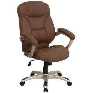 Aberdeen High-Back Brown Microfiber Executive Swivel Chair w/Arms