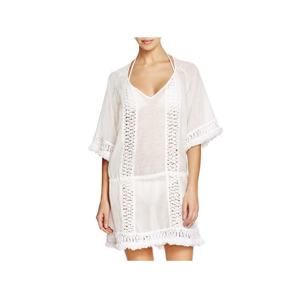 a0e109259b86a Shop Sofia by Vix Womens Fringe Tie Caftan Swim Cover-Up - Free ...