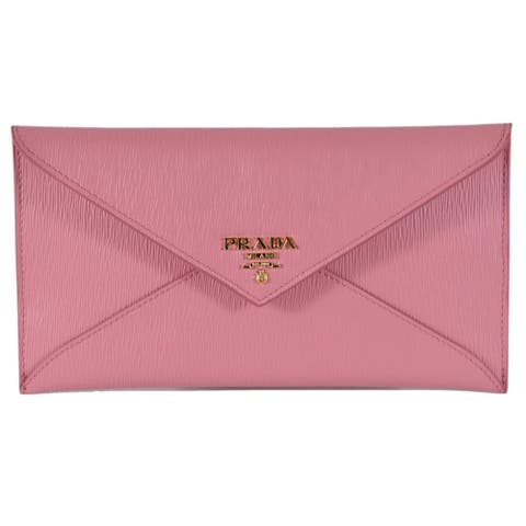 bf1ae272184a85 Prada 1MF175 2EZZ Pink Vitello Saffiano Leather Flap Envelope Wallet Clutch
