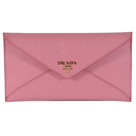 bf1ae272184a85 Prada 1MF175 2EZZ Pink Vitello Saffiano Leather Flap Envelope Wallet Clutch