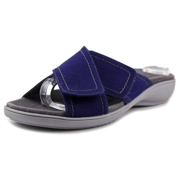 Trotters Getty Women N/S Open Toe Canvas Blue Slides Sandal