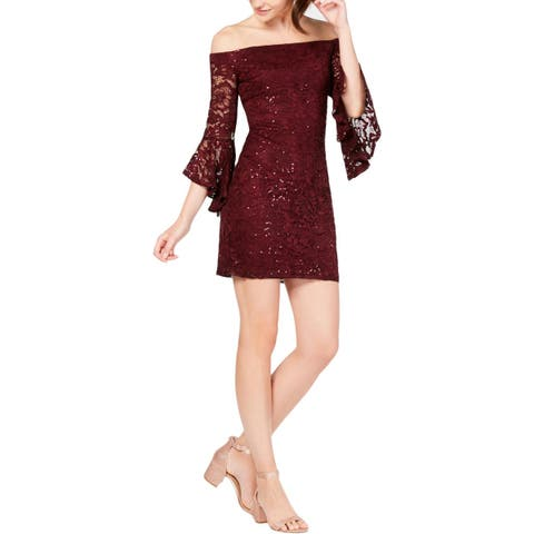 Teeze Me Womens Juniors Party Dress Lace Sequined