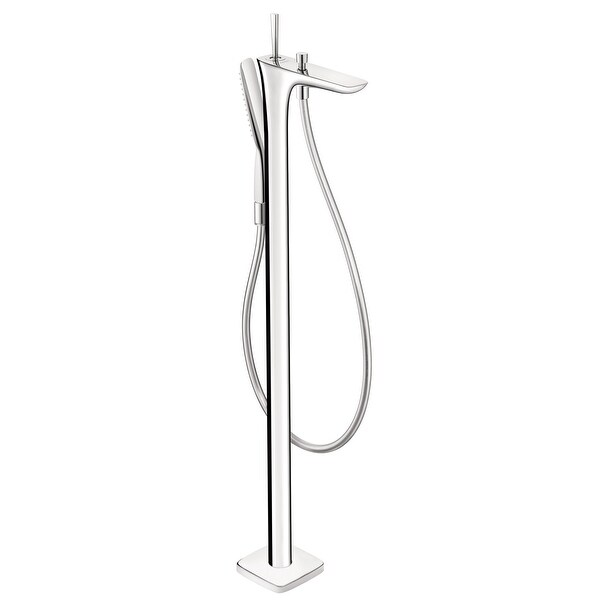 """Hansgrohe 15473 PuraVida Floor Mounted Tub Filler with 2.5 GPM Multi Function Hand Shower, 49"""" Techniflex Hose and Diverter Tub"""