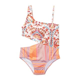 Azul Little Girls Orange Mayan Velvet Asymmetrical One Piece Swimsuit