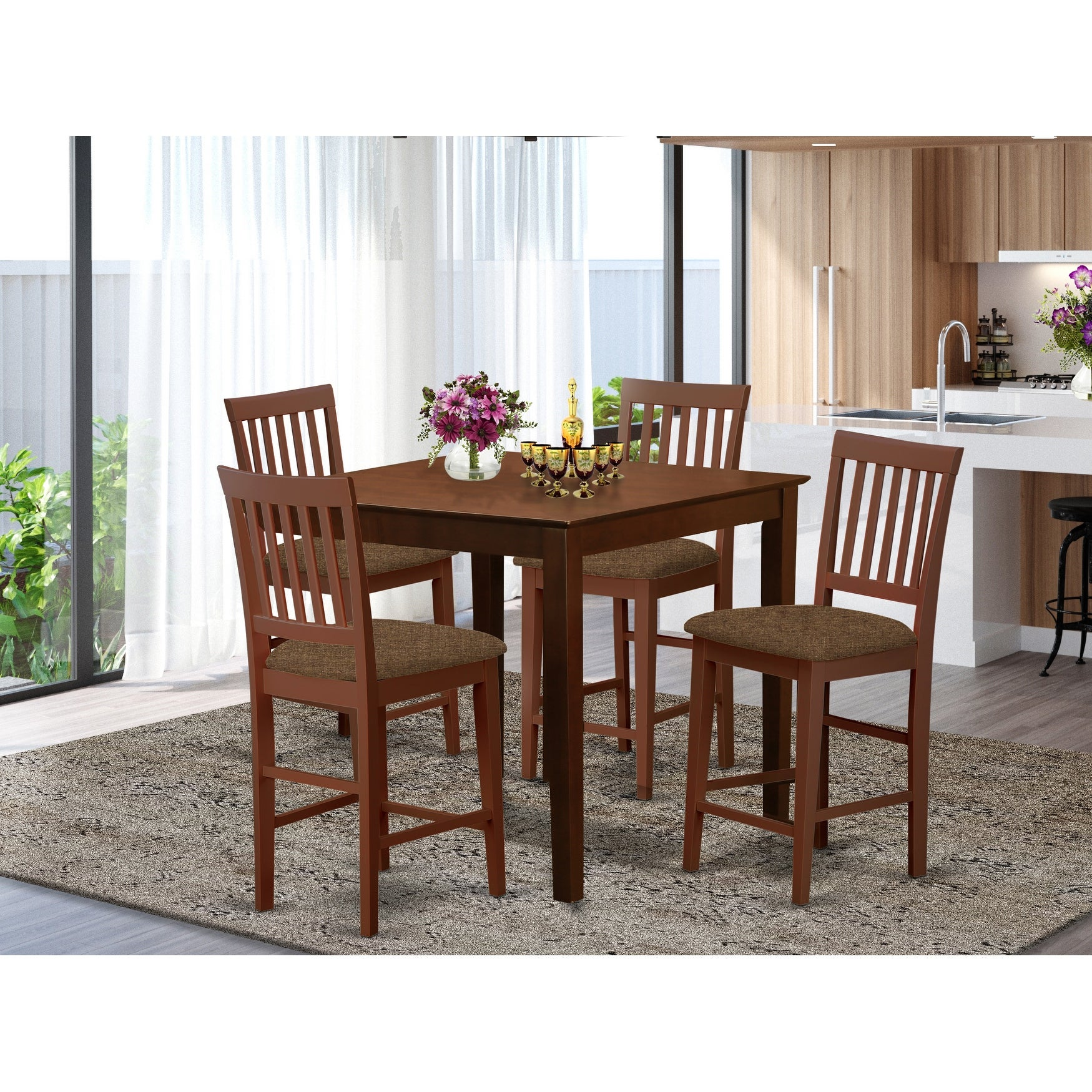 Picture of: Shop Black Friday Deals On Mahogany Square Counter Height Table And 4 Counter Height Chairs 5 Piece Dining Set On Sale Overstock 10201132