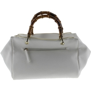SR2 Womens Faux Leather Bamboo Handle Satchel Handbag - White - Medium