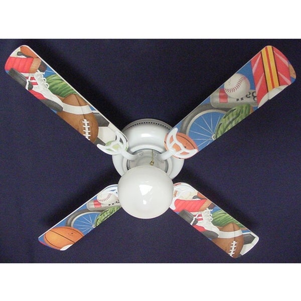 All Sports General Theme Print Blades 42in Ceiling Fan Light Kit - Multi