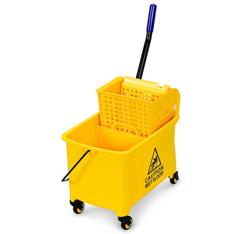 Costway Commercial Mop Bucket Side Press Wringer on Wheels 21 Quart Yellow w/ Panel - yellow, black