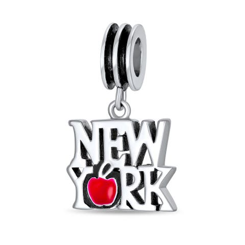 I Love New York Red Heart Travel Dangle Charm Bead Sterling Silver