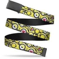 Blank Black Bo Buckle Minion Emojis Stacked Webbing Web Belt