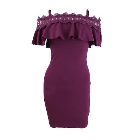 BCX Trendy Plus Size Lace-Trim Off-The-Shoulder Dress
