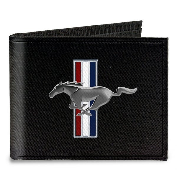 Ford Mustang W Bars Logo Centered Canvas Bi Fold Wallet One Size - One Size Fits most