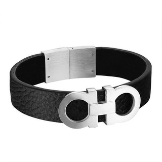 A A Design Black Leather Bracelet Stainless Steel 19 MM