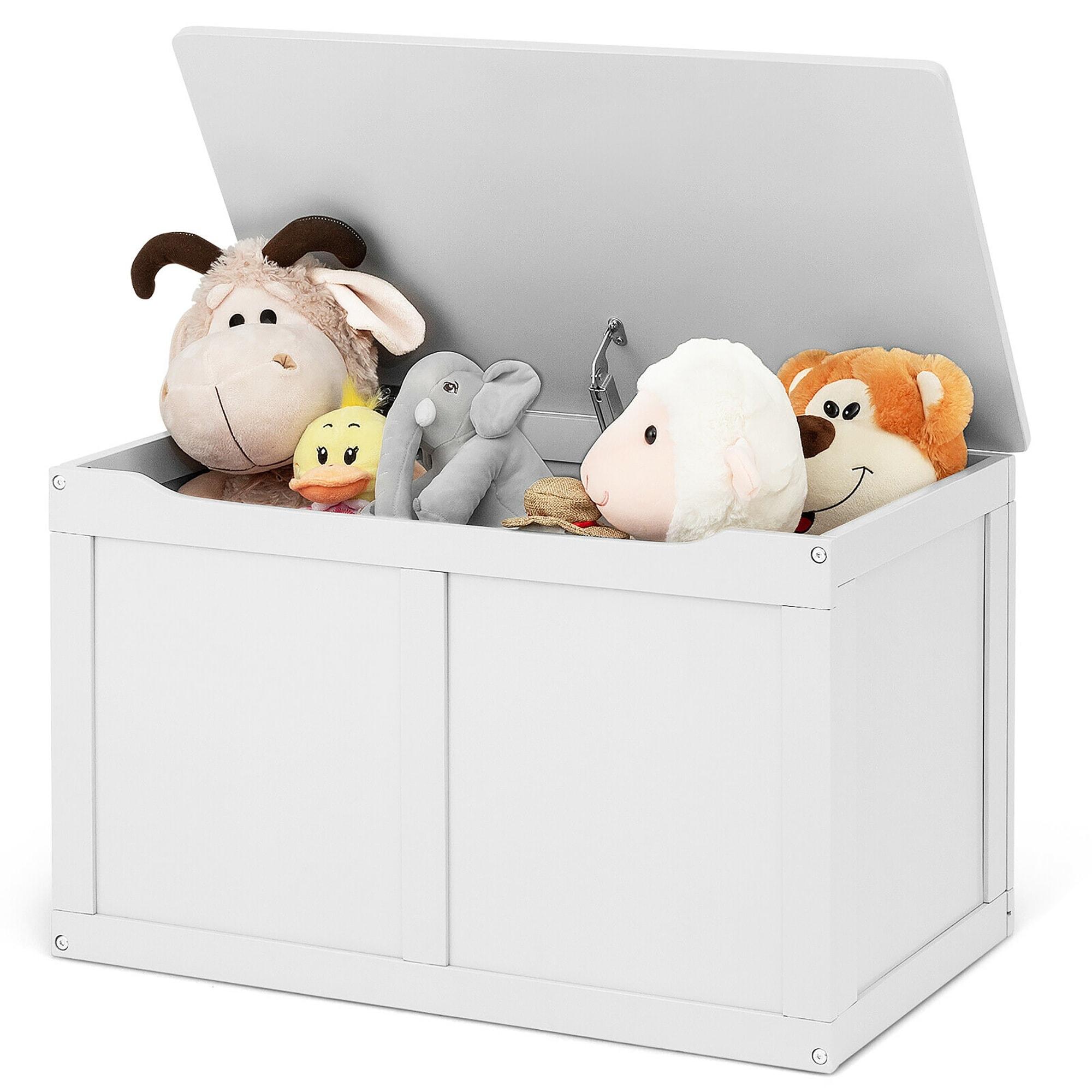 Costway Wooden Kids Toy Storage Box Sitting Top Chest Organizer Large On Sale Overstock 18225435