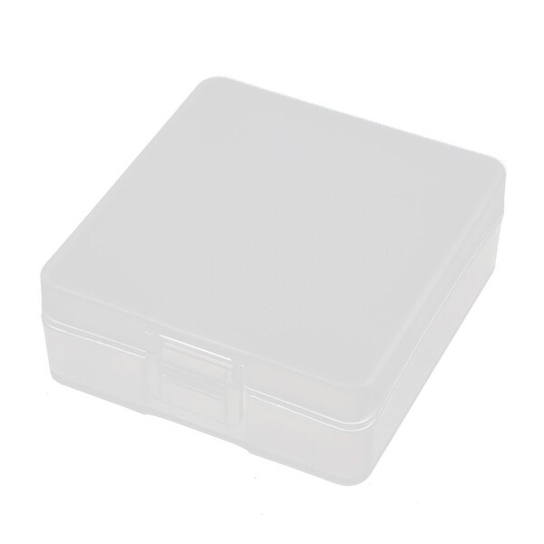 56mmx53mmx21mm Transparent Storage Case Hard Plastic Battery Holder Organizer