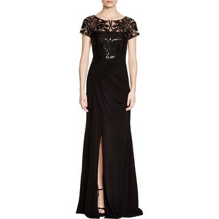 David Meister Womens Evening Dress Mesh Inset Sequined