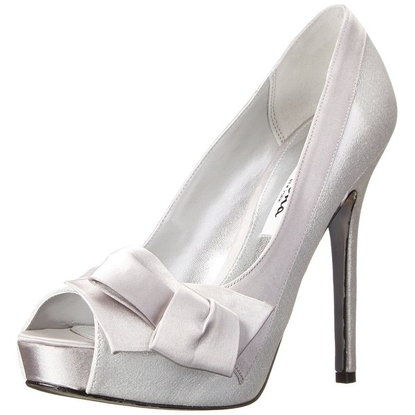 Nina NEW Silver Mari-FY Shoes Size 9.5M Open Toe Suede Heels