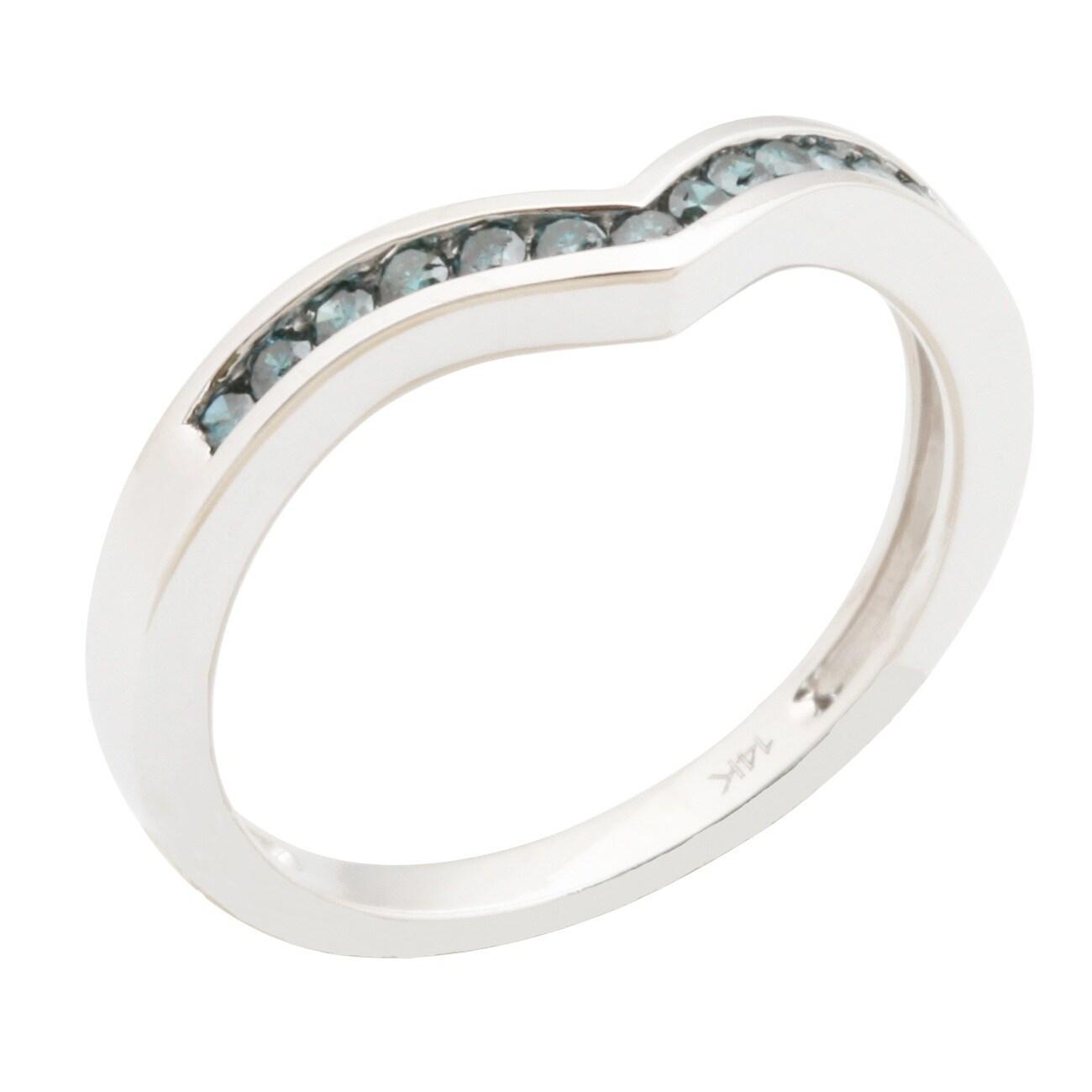 0.25 Carat Channel Set Blue Diamond Wishbone Anniversary Ring - Thumbnail 0
