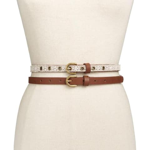 INC International Concepts Crochet 2-for-1 Belts, Natural (L)